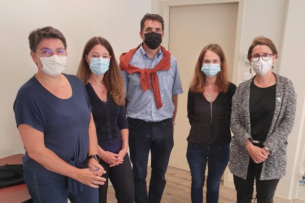 Carine Barbey (auditrice SGS), Valérie Lorentz (responsable administrative), Samuel Mercier (directeur), Adèle Grégoire (responsable qualité), Mathilde Pulh (responsable master MATC)